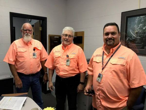 Ron Wyrtzen, FSE Vice President, Tim Brown, Foreman at USDA Athens, and Bobby Maxwell, Operations and Maintenance Foreman at USDA